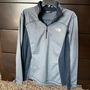 The North Face Heather Blue Quarter Zip Pullover